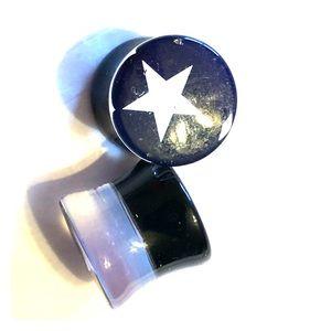 "⭐️ Acrylic star dbl flared plugs 1/2"" (12.5mm) ⭐️"